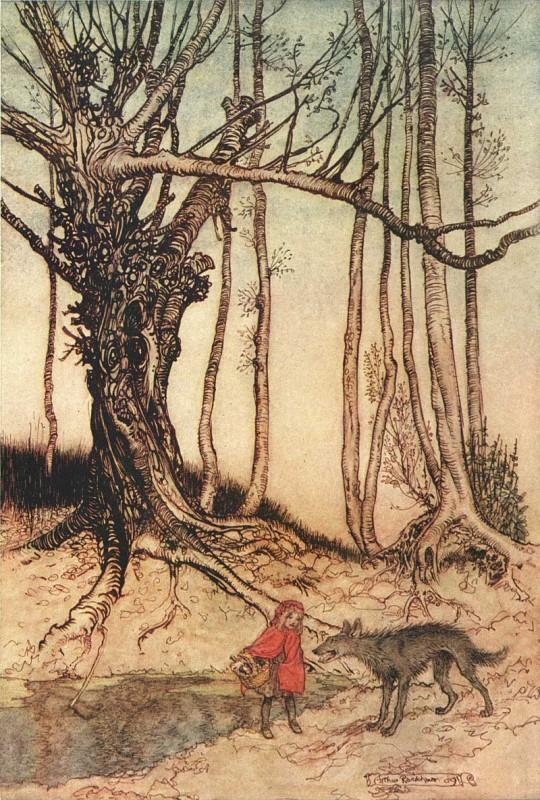 Chapeuzinho vermelho, em ilustração de Arthur Rackham (1867 - 1939)