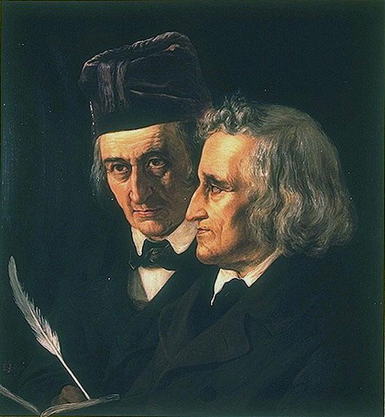 Os irmão Grimm, em pintura de Elisabeth Jerichau-Baumann (1855).